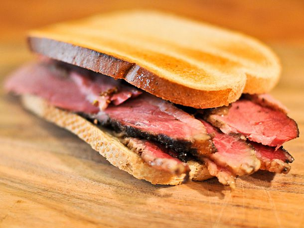 A sandwich made of Montreal Smoked Meat.