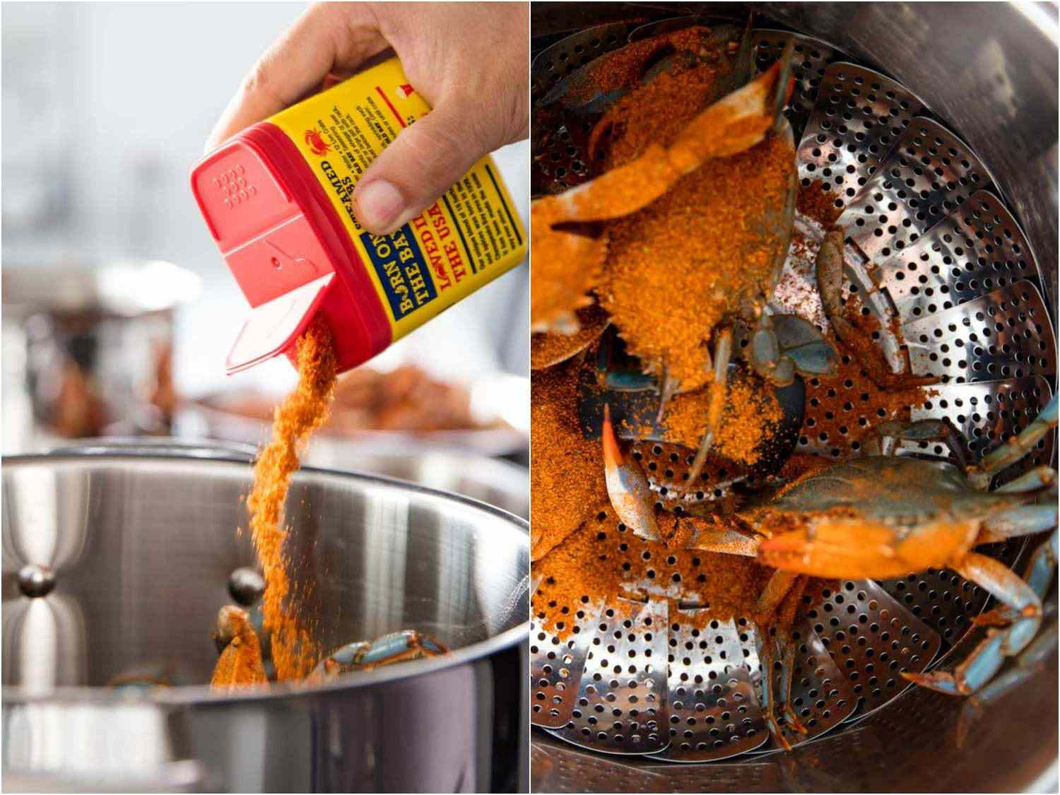 Pouring Old Bay seasoning into the crab pot; crabs in the steamer, coated in Old Bay