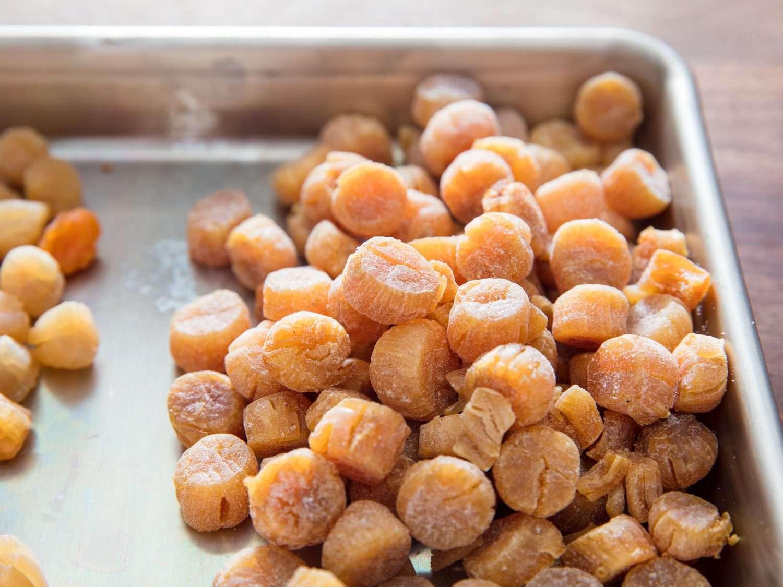 Closeup of dried scallops.