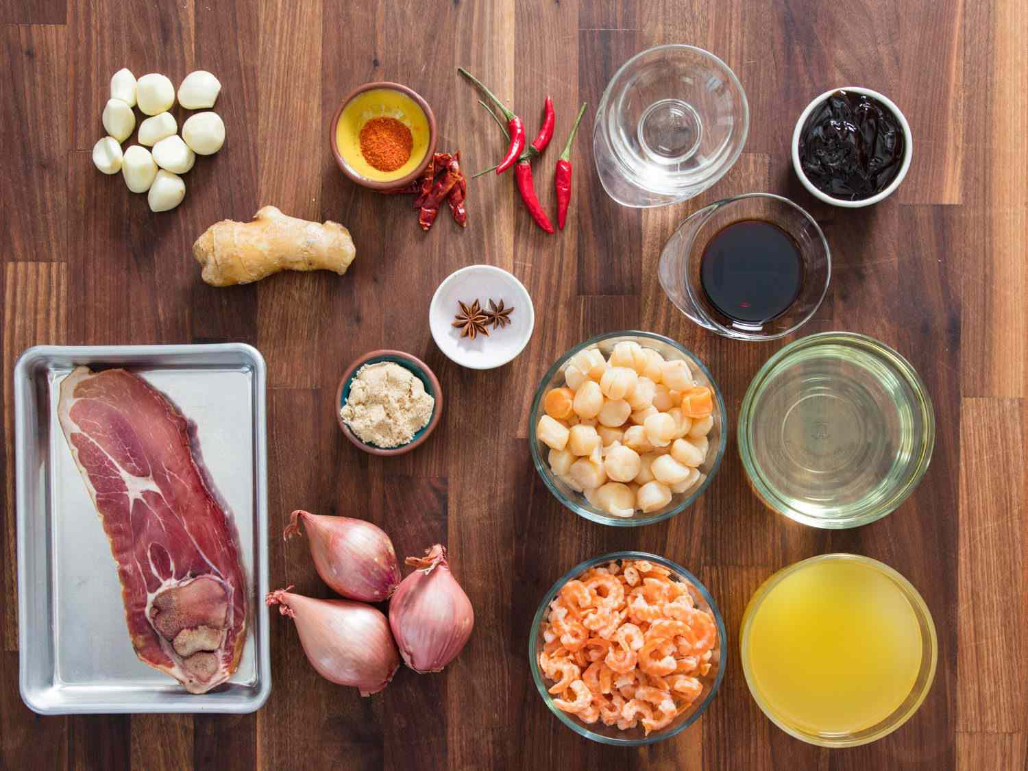 Ingredients for XO sauce.