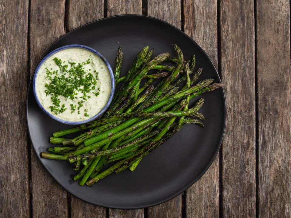 charred asparagus with green goddess dressing