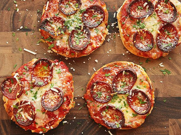 pepperoni pizza on English muffins