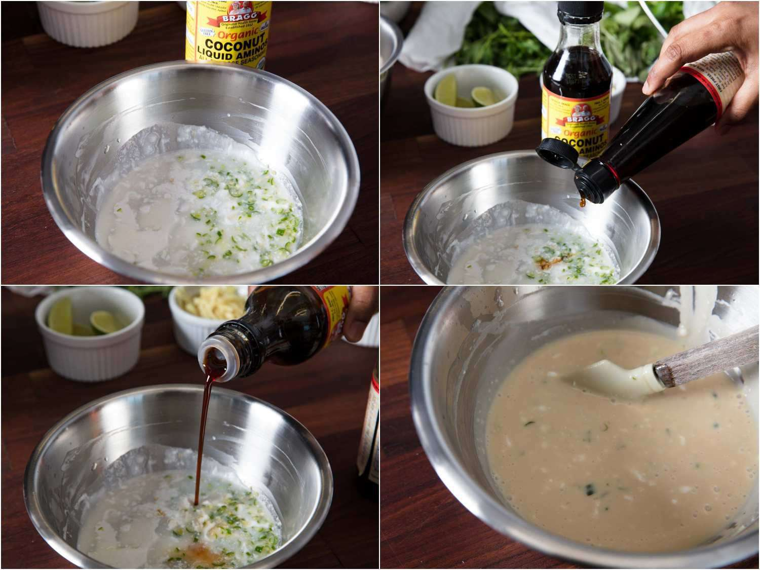 Combining coconut cream, coconut aminos, fish sauce, Thai chili, and lime into dipping sauce