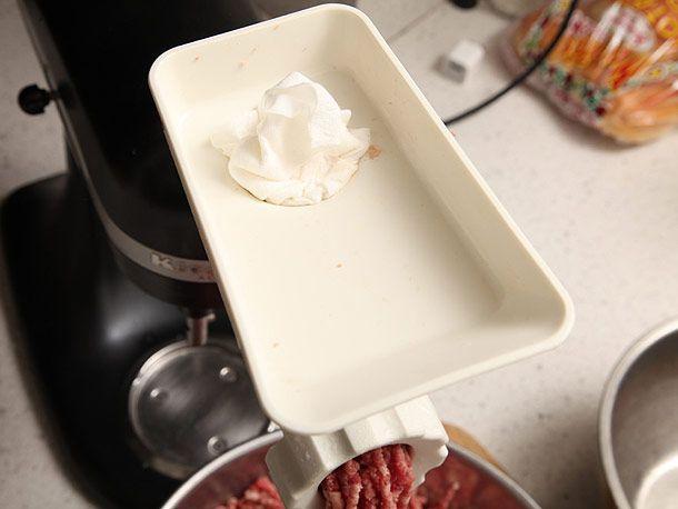 paper towel on meat grinder