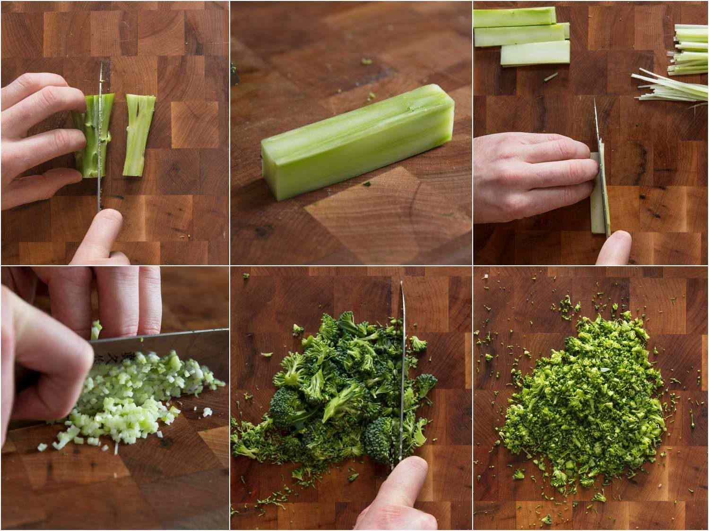 Process shots of cutting broccoli stems and floret scraps for gremolata.