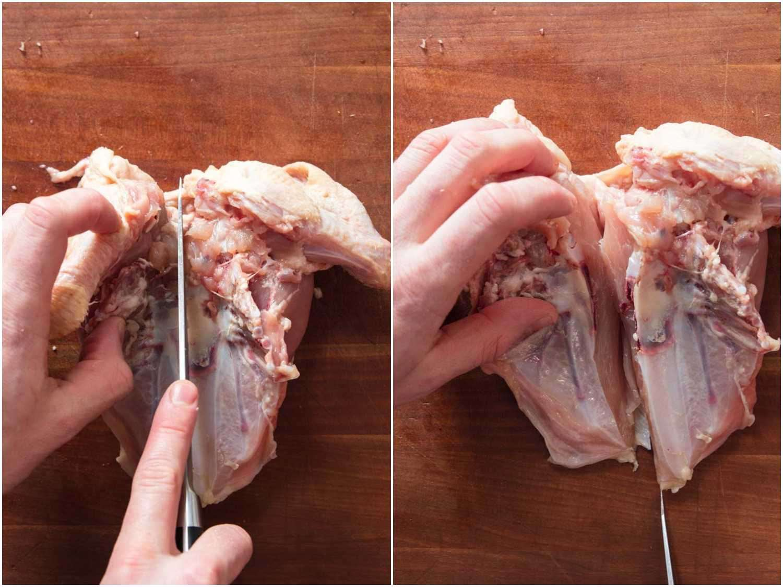Process shots of splitting chicken breast