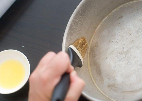 greasing cake pan