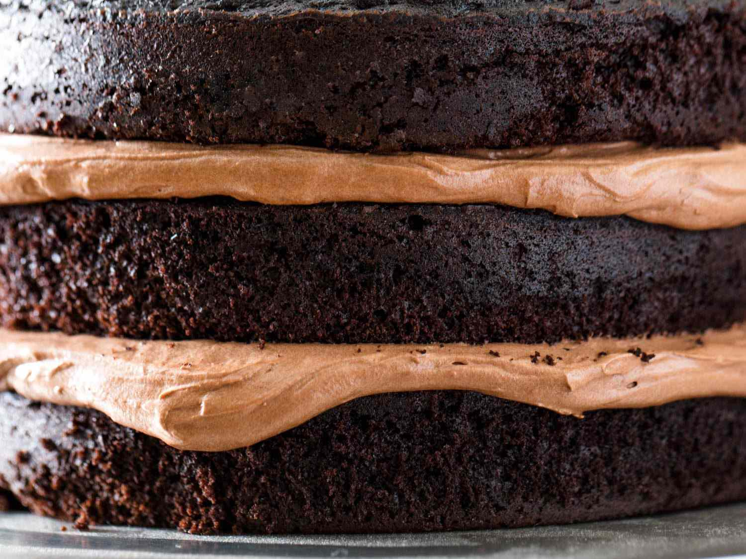 Close up photograph showing layers of Devil's food cake and chocolate Swiss buttercream frosting.