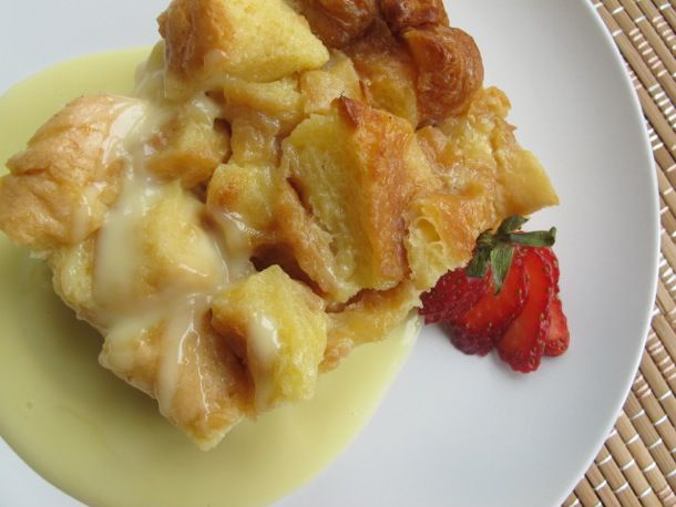bread pudding and white chocolate sauce