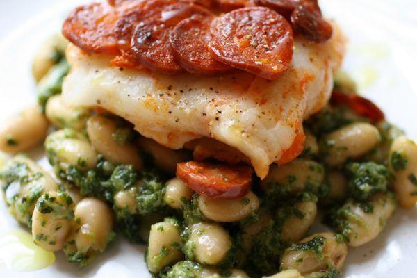Chorizo Crusted Cod and Beans with Arugula Pesto