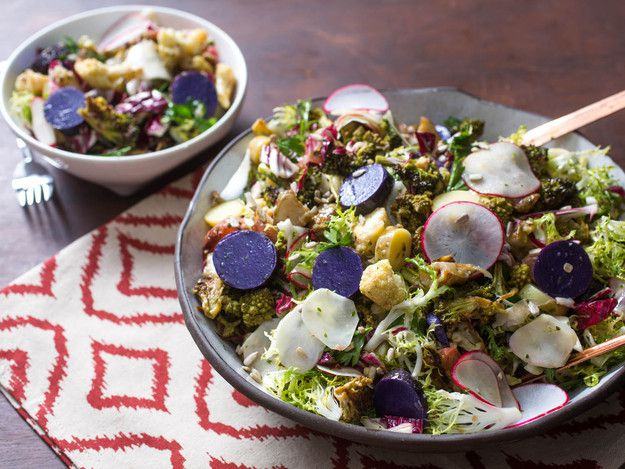 Fall Harvest Salad with Roasted Brassicas, Fingerlings, and Radishes