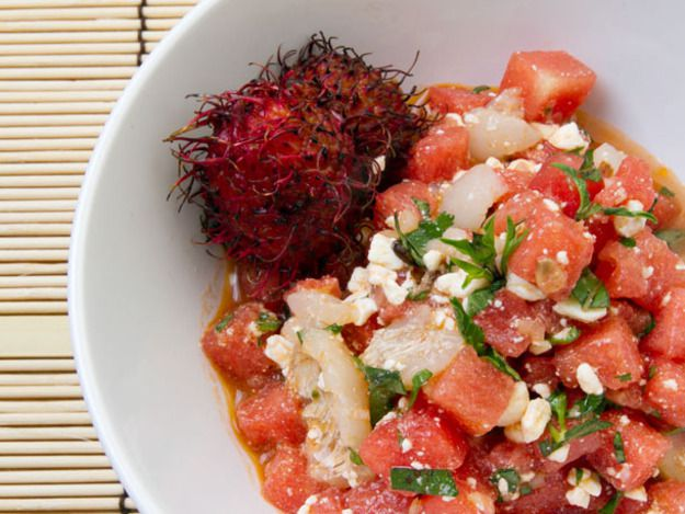 Watermelon, Lychee, Feta, and Basil Salad with Spicy Lemongrass Vinaigrette