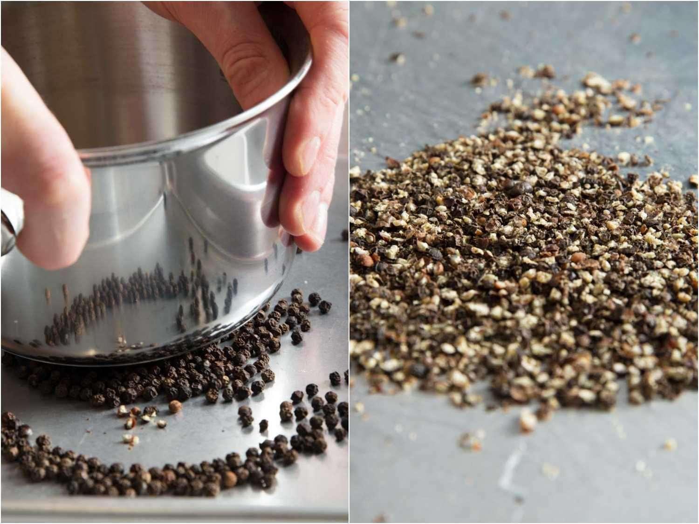 Cracking peppercorns for mignonette