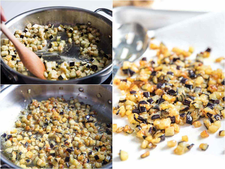 Cooking eggplant to make Sicilian rigatoni with swordfish (pesce spada)