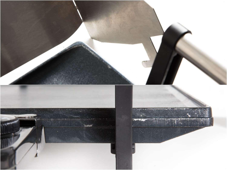 Stainless steel backsplash scratching Broil King griddle.