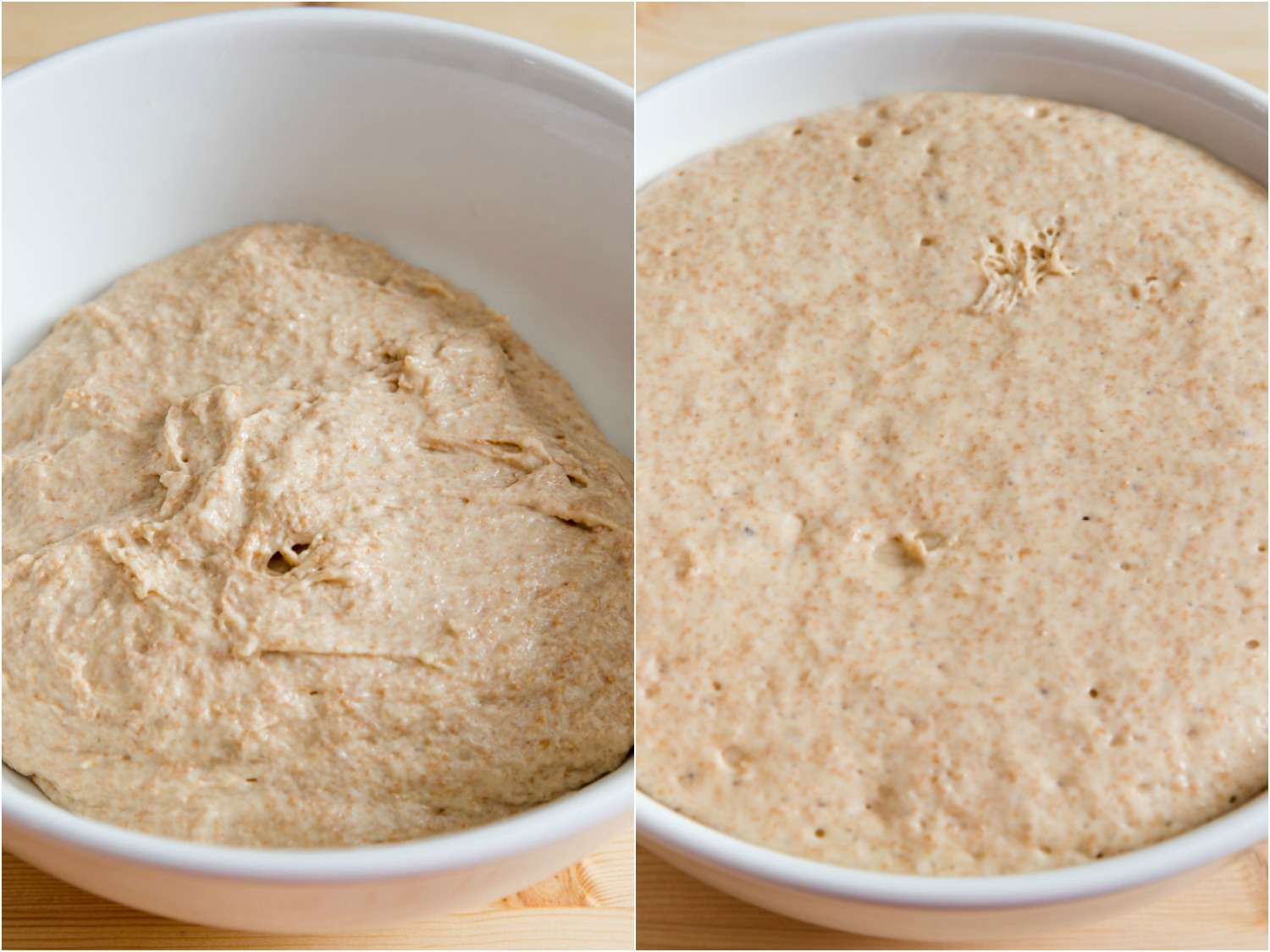 Collage showing English muffin dough before and after its bulk rise.