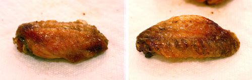 Comparison of steamed versus baked buffalo wings