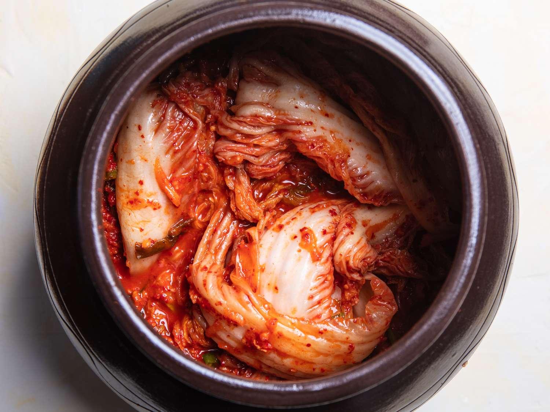 baechu kimchi in an onggi fermentation pot