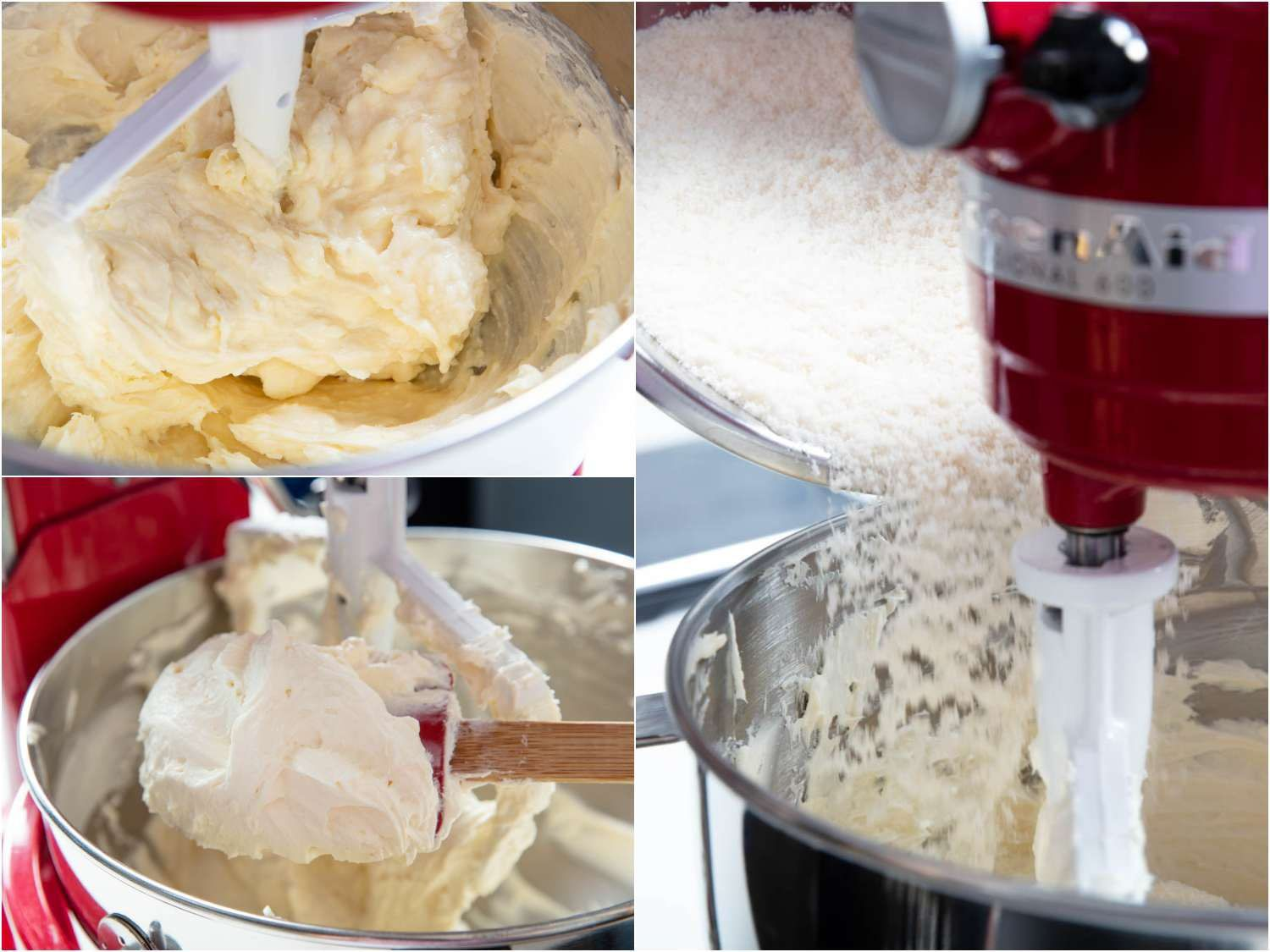 beating the cream cheese and goat cheese before adding the sugar
