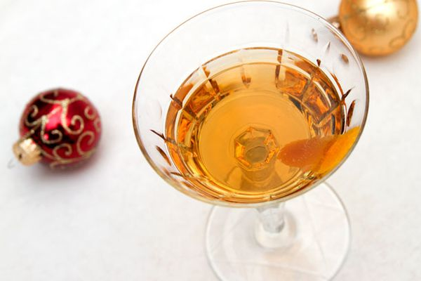 A hanky panky cocktail, made with Fernet Branca, in a cocktail glass.