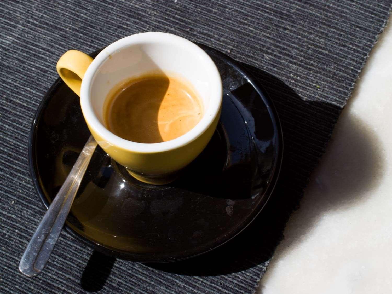 A demitasse cup of espresso