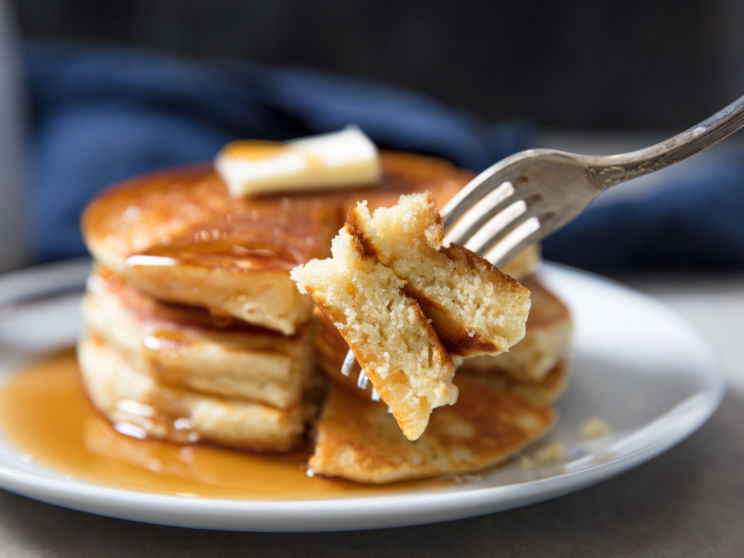 stack of fluffy pancakes