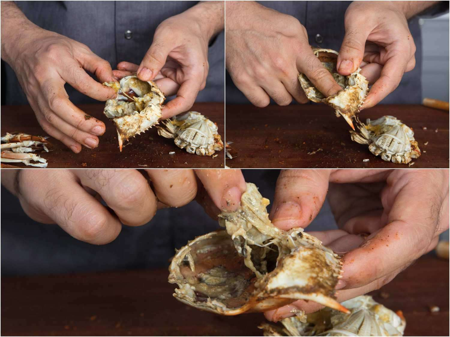 Removing sac from the top shell of a crab and picking out the meat