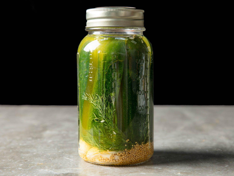 homemade pickles in vinegar brine