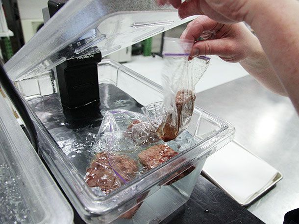 burger patties in sous-vide style water bath