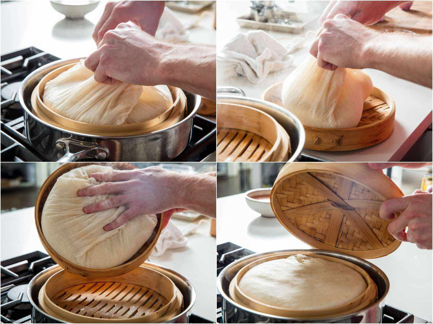 Process shots of flipping over cheesecloth parcel of sticky rice midway through cooking process.