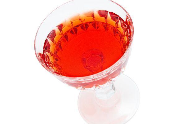 A glass of Eeyore's Requiem, a cocktail made using Fernet Branca.