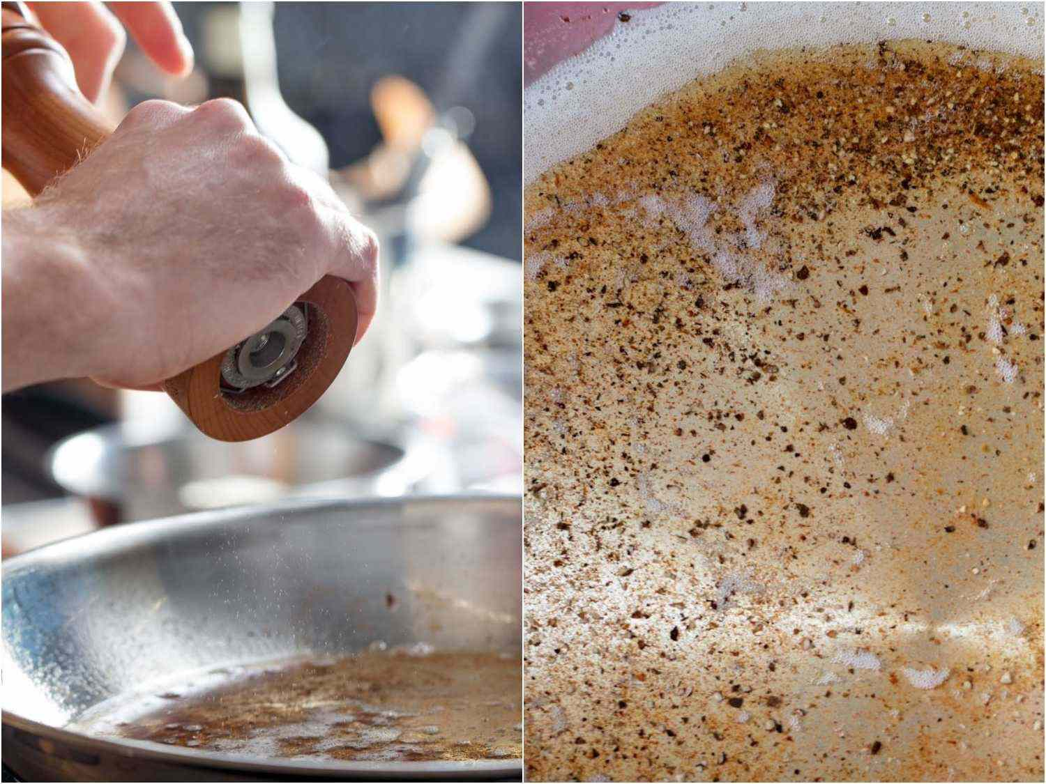 Grinding and blooming black pepper in rendered guanciale fat