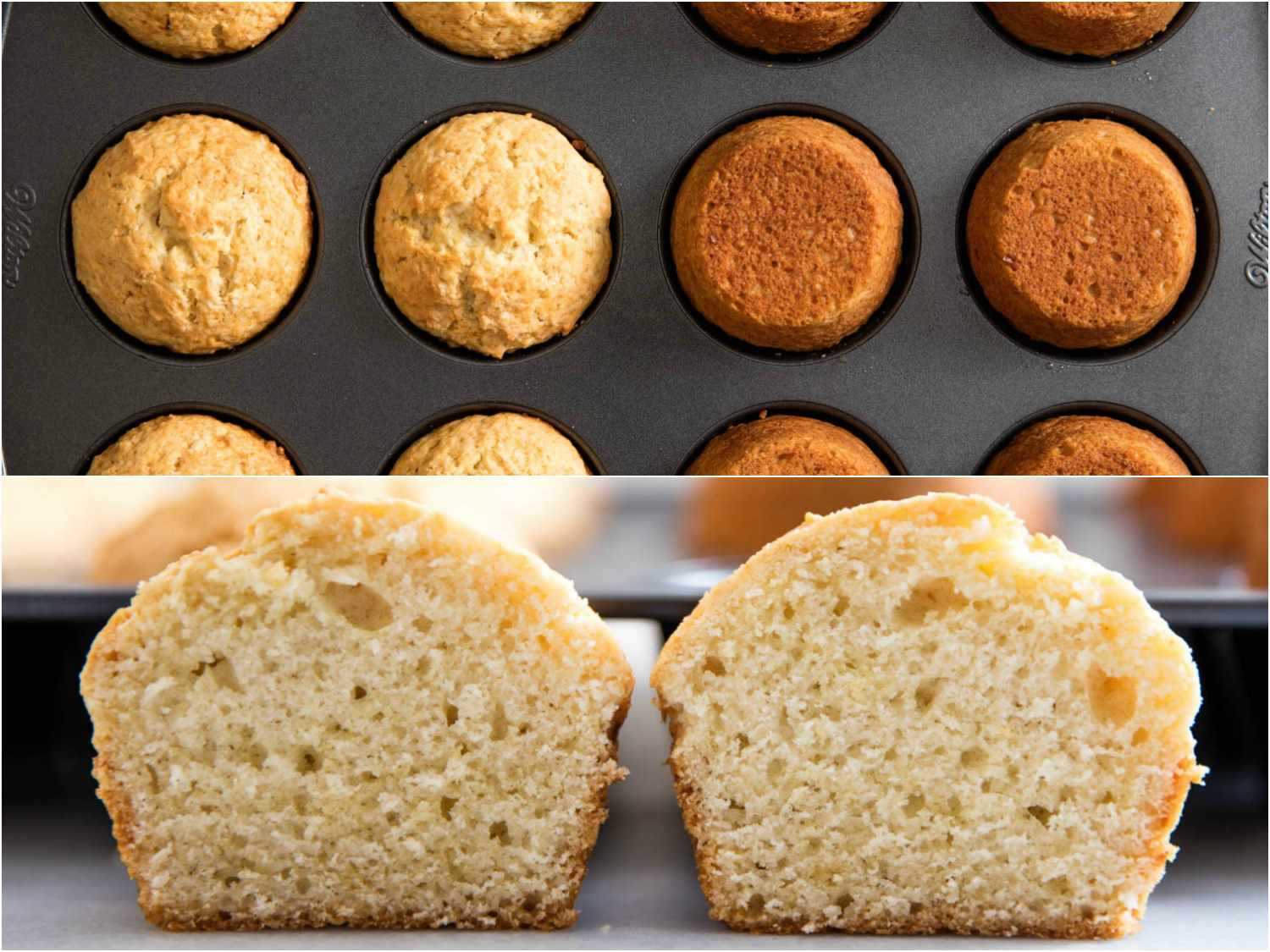 Collage of muffin photos: tops and bottoms of muffins made in a dark nonstick pan, showing the height and browning of muffins baked in nonstick pans