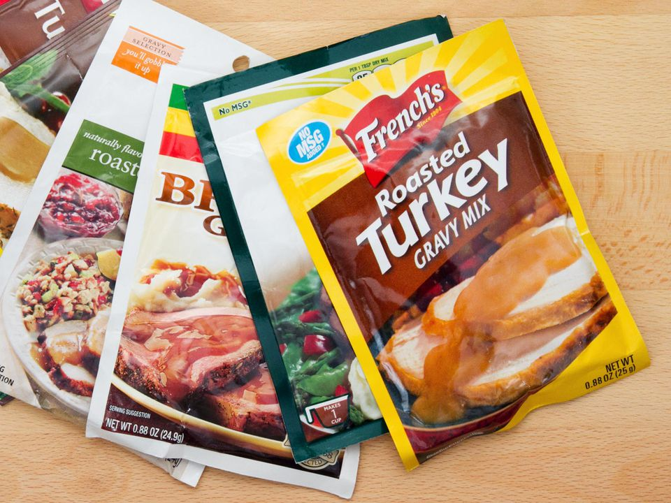 An assortment of powdered gravy packages.