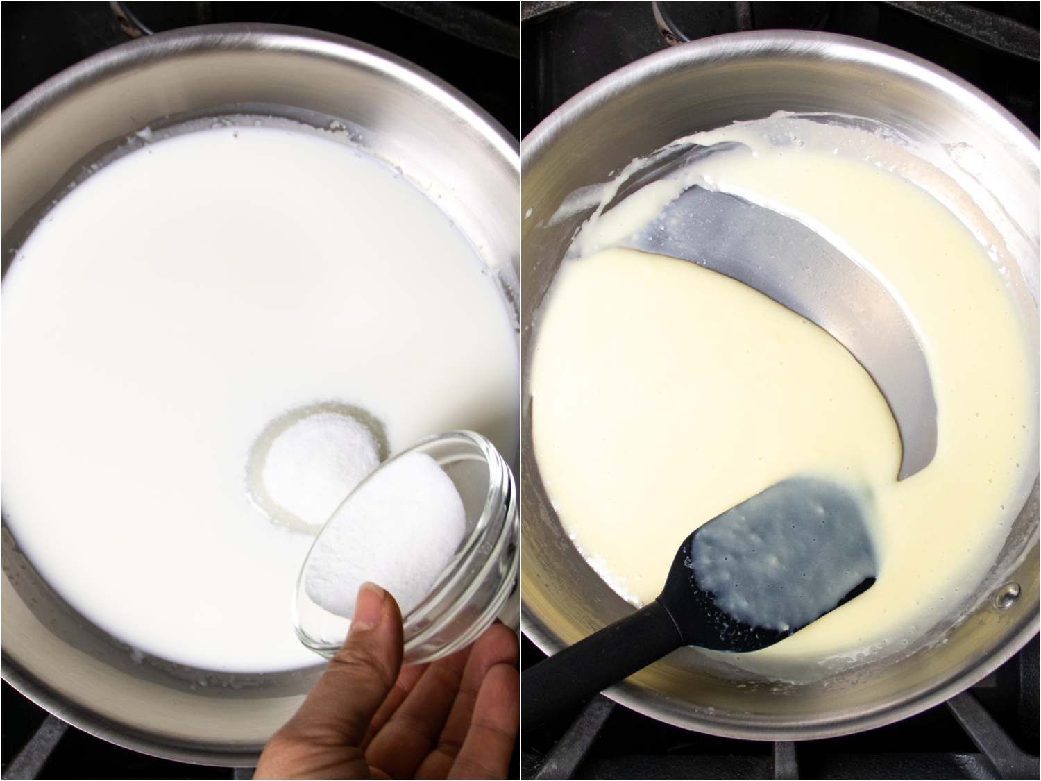 collagE: adding sugar to reduced milk and cream; showing the consistency after it has all thickened