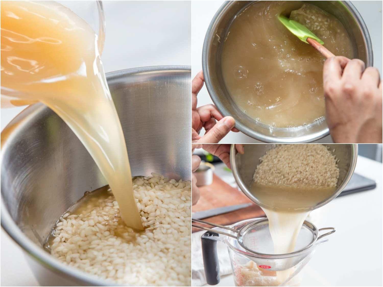 Rinsing arborio rice with chicken stock