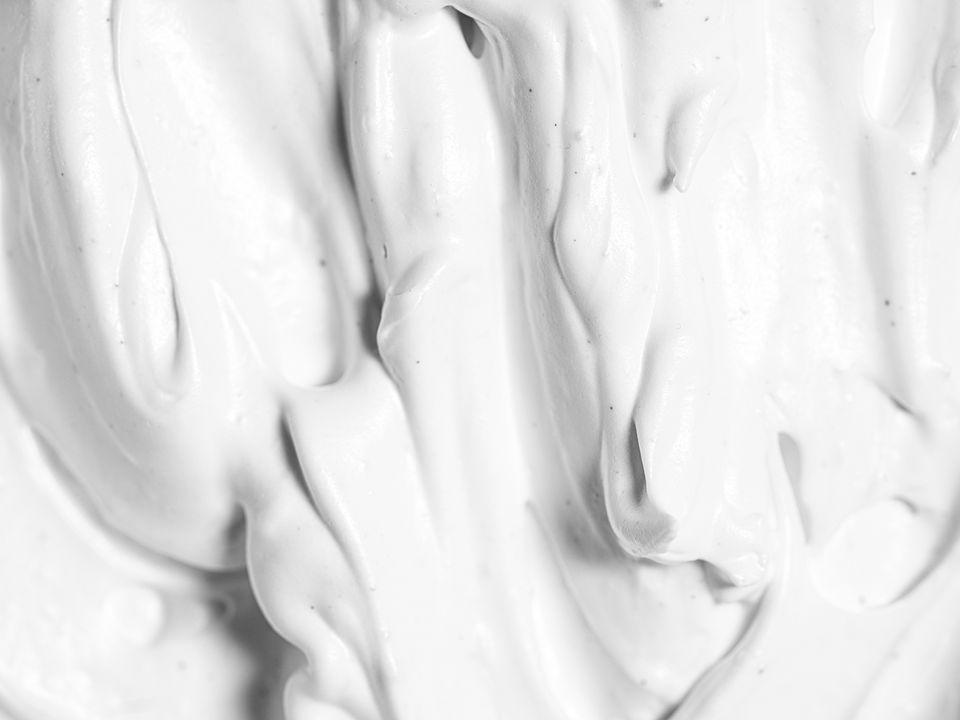 A close up of aquafaba meringue frosting