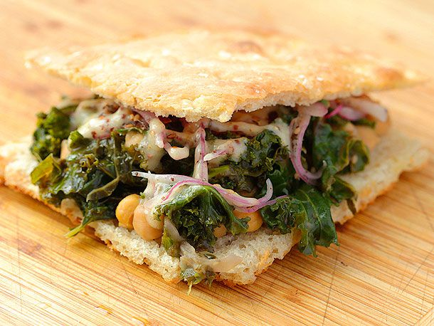 Braised Kale and Chickpea Sandwich with Sumac Onions