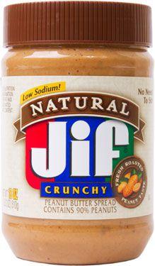 A jar of Jif Natural Crunchy peanut butter