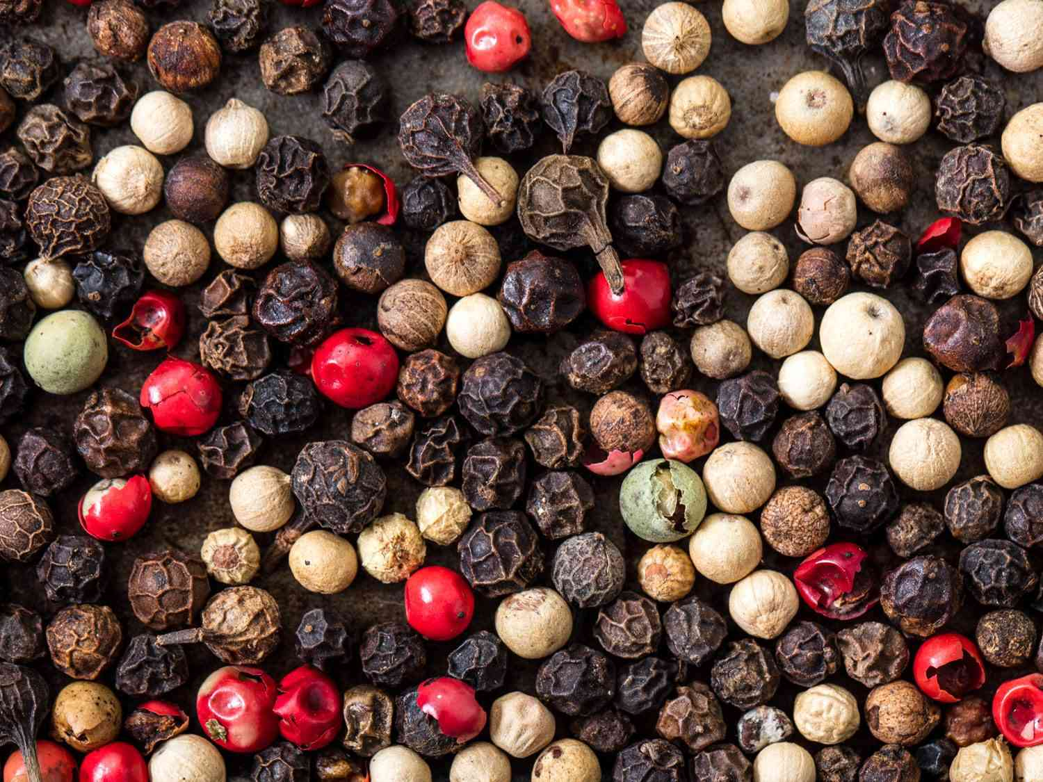 Mix of different kinds of peppercorns