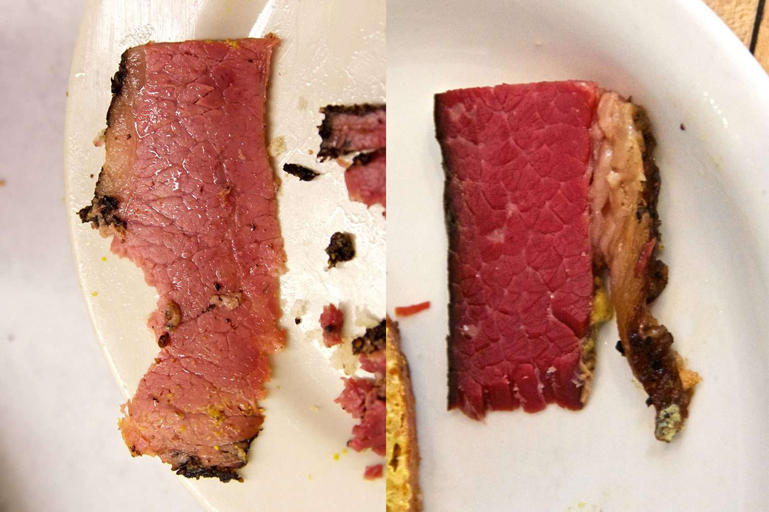 Split image showing both pastrami and smoked meat on white serving plates.