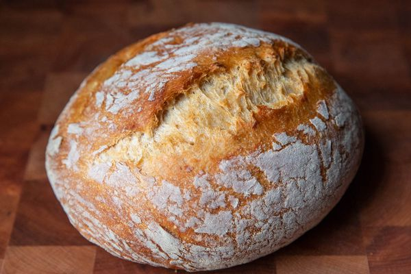 A boule of baked no-knead bread