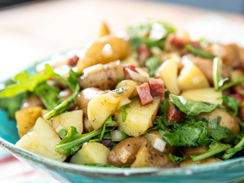 Beauty shot of chorizo and potato salad