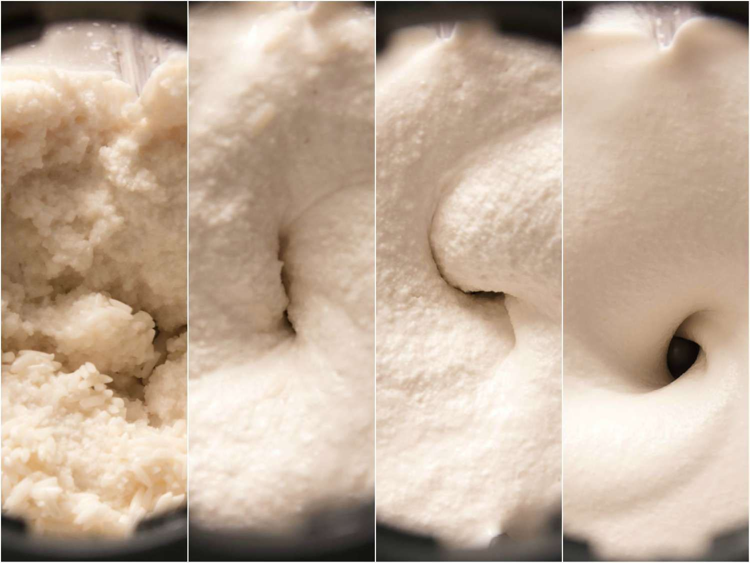Collage showing four stages of blending dosa batter, from grainy to smooth