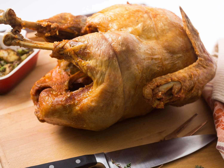 Fried turkey on a cutting board