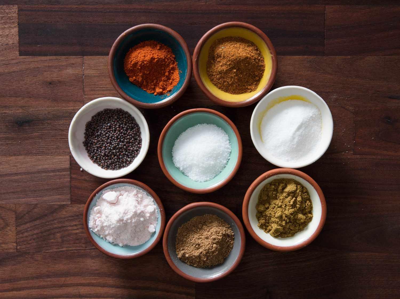 salt, sugar, kala namak, chili powder, cumin, coriander, and chaat masala
