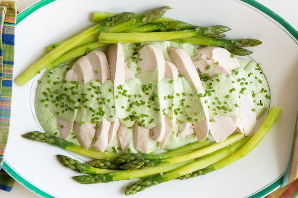 poached chicken and asparagus with Green Goddess sauce