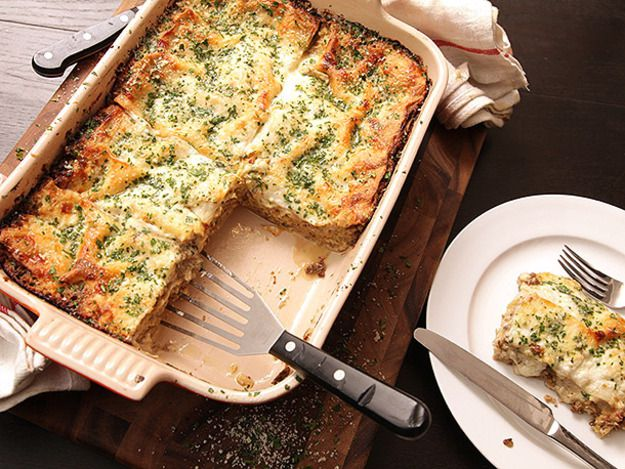 Creamy Brussels Sprouts and Mushroom Lasagna