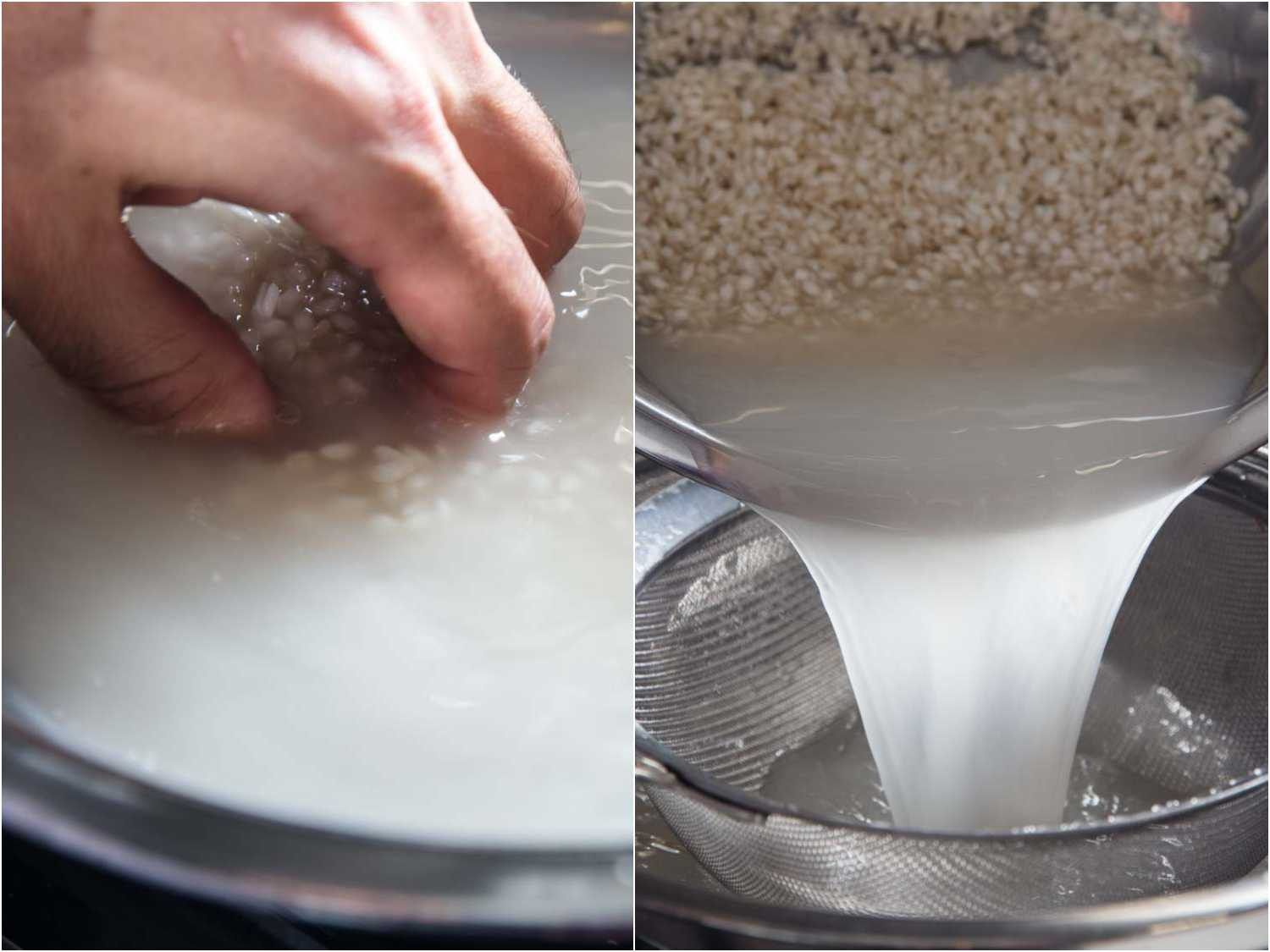 Washing the starch off rice