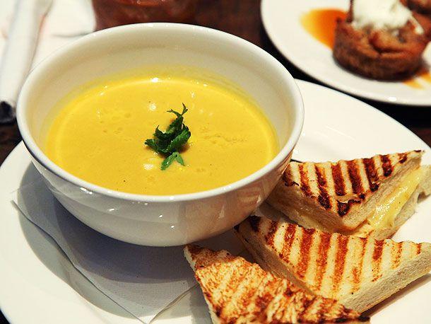 squash soup and a sandwich